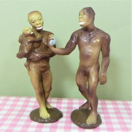 Vintage figuren Australopithecus male female 1988