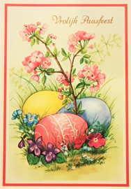 Vintage ansichtkaart Vrolijk Paasfeest - Paaseieren
