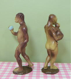 Vintage figuren Australopithecus male female 1988