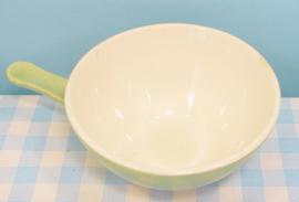 Vintage Boch pastel servies soepkom met steel - groen