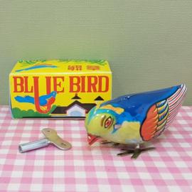 Blikken speelgoed vogel - blue bird