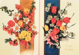 Vintage ansichtkaart Vrolijk Paasfeest met boeket - set 2