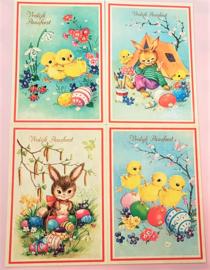 Vintage ansichtkaarten Vrolijk Paasfeest - Set 4