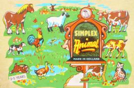 Simplex vintage houten puzzel - Boerderijdieren