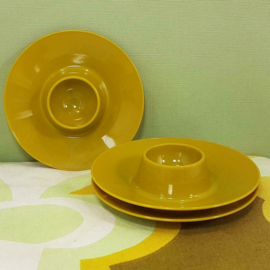 Retro eierdopjes set 3 stuks vintage plastic mosgroen