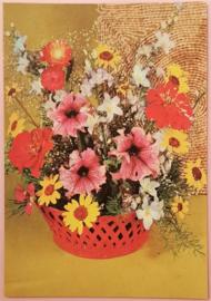 Vintage ansichtkaart rode mand bloemen - jaren 70