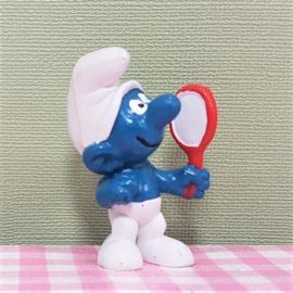Vintage Smurf met spiegel  -  Schleich Peyo 1972