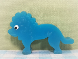 Vintage plastic dierenfiguurtje - blauwe leeuw