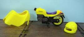 Playmobil onderdelen neon gele racemotor met helm