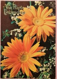 Vintage ansichtkaart Van Harte Beterschap - oranje bloemen