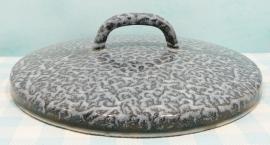 Grijs gewolkt emaille deksel 17,5 cm - jaren 50