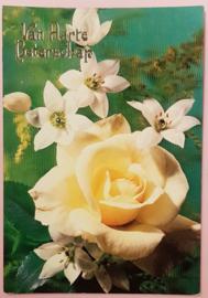 Vintage ansichtkaart Van Harte Beterschap - gele roos