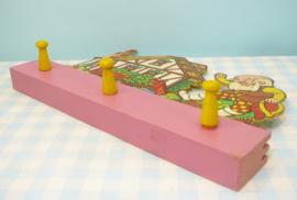 Vintage houten kinderkapstok - Kabouter