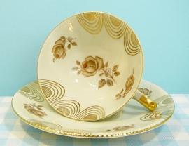 Bavaria Winterling - kop & schotel bloemen / goud
