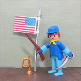 Vintage Playmobil 3354 soldaat met vlag - Playmobil Western