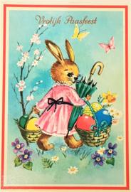 Vintage ansichtkaart Vrolijk Paasfeest - Konijntje