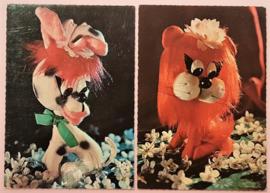 Vintage ansichtkaarten speelgoedbeesten - set 2