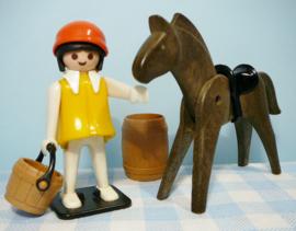 Vintage Playmobil boerderij / western figuur - boerin met paard 1978