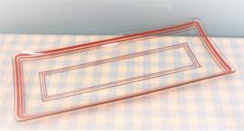 Vintage glazen cakeschaal - rode strepen