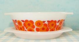 Arcopal France Lotus schaal 17 cm rood/oranje met deksel