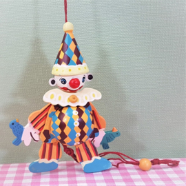 Houten trekpopje clown - 11 cm