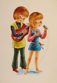 Jongen en meisje in blauwe jurk met gitaar