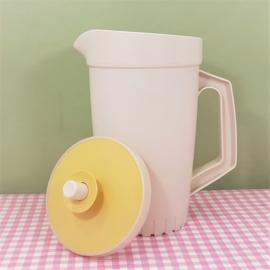 Vintage Tupperware limonade kan met geel deksel - jaren 70