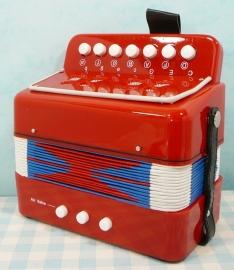 Speelgoed muziekinstrument Accordeon - rood