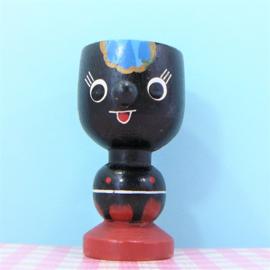 Vintage houten eierdopje donker figuurtje - jaren 60