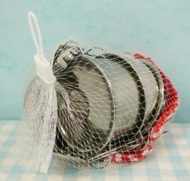 Blikken pannensetje voor keukentje - Tin toy cookware set