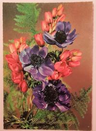 Vintage ansichtkaart Van Harte Beterschap - paarse bloemen
