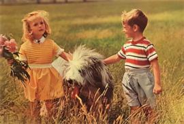 Vintage ansichtkaart kinderen met pony