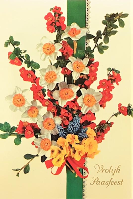 Vintage ansichtkaart Vrolijk Paasfeest - Boeket groen lint
