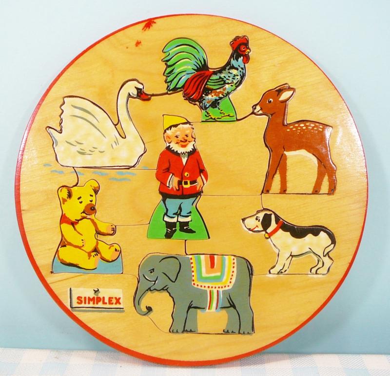 Simplex houten puzzel no. 105 - dieren met kabouter