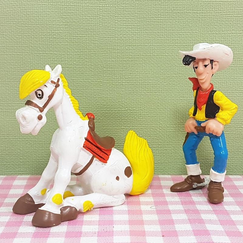 Vintage Schleich figuur Lucky Luke  met Jolly Jumper - Dargaud 1984