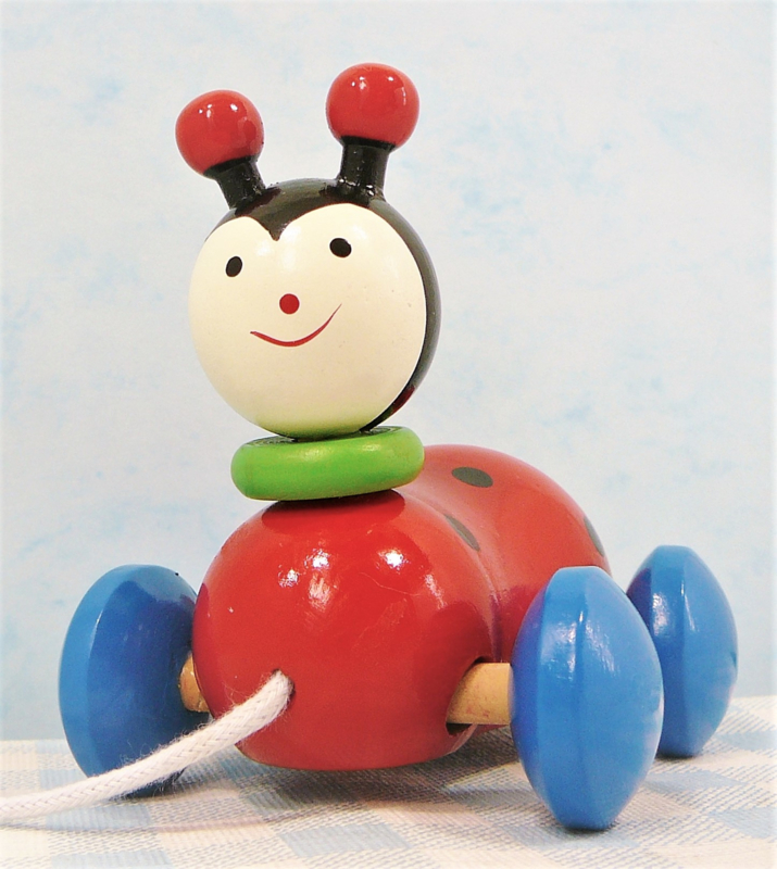 Houten speelgoed lieveheersbeestje - Trekfiguur