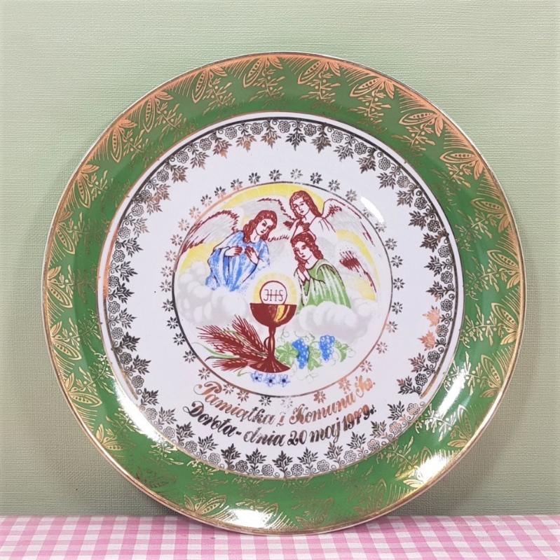 Vintage Eerste Communie bord met engelen - Pools porselein