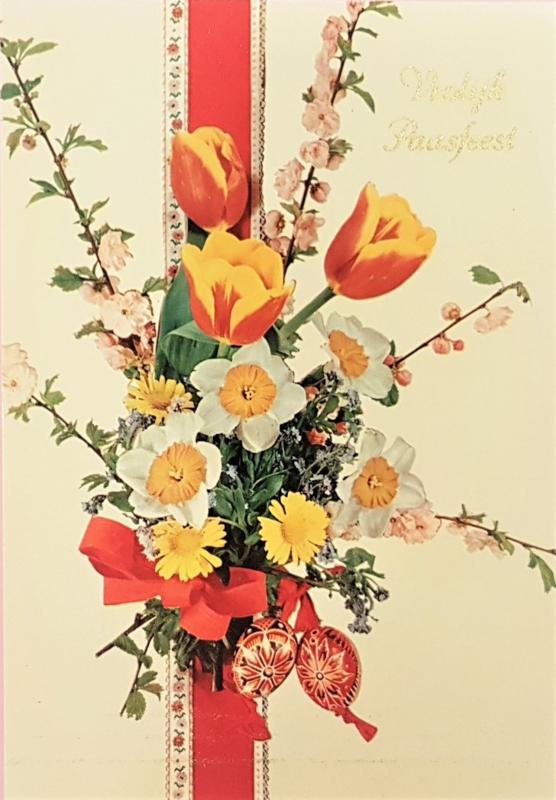 Vintage ansichtkaart Vrolijk Paasfeest - Boeket rood lint