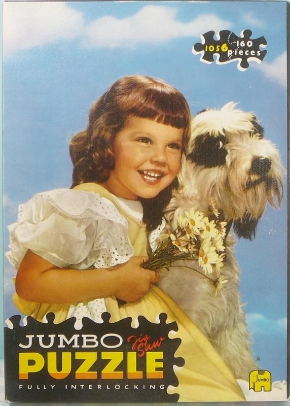 Jumbo puzzel no. 1056 - Meisje met hond en bloemen