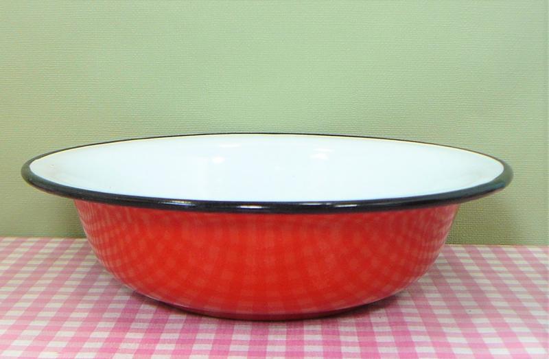 Emaille schaal rood met zwart randje - 20 cm