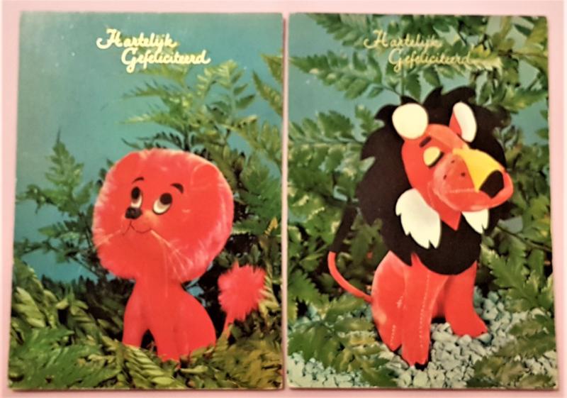 Vintage ansichtkaarten Hartelijk Gefeliciteerd speelgoedbeesten - set 2
