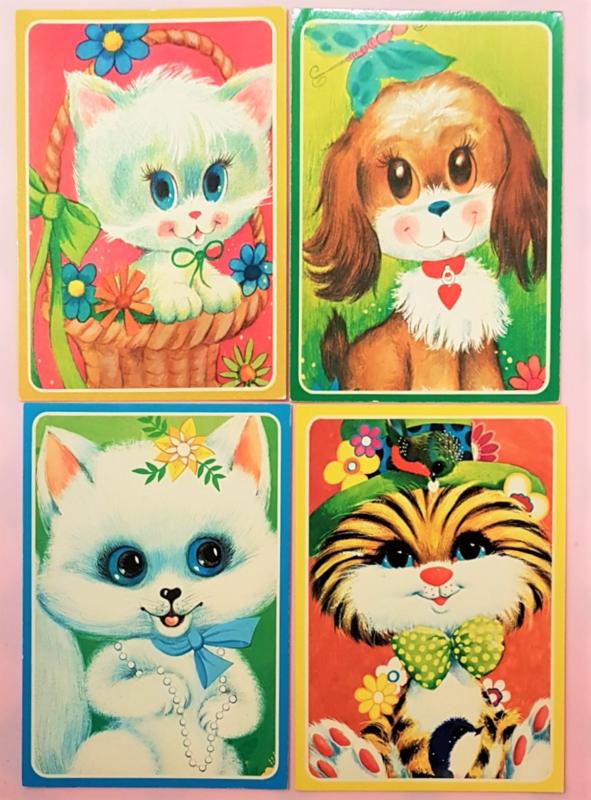 Vintage ansichtkaarten dieren - set 4