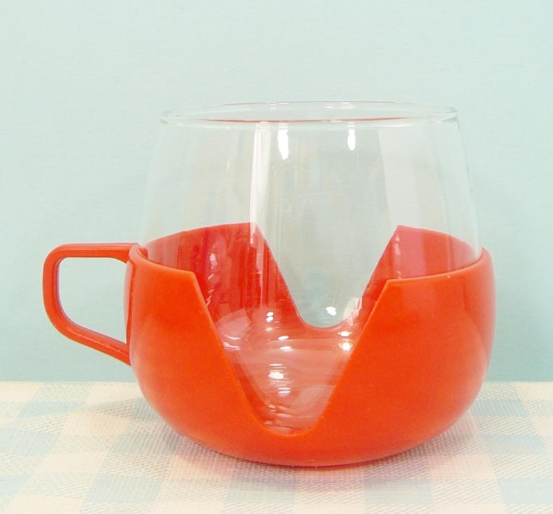 Retro theeglas plastic houder oranje rood - jaren 70