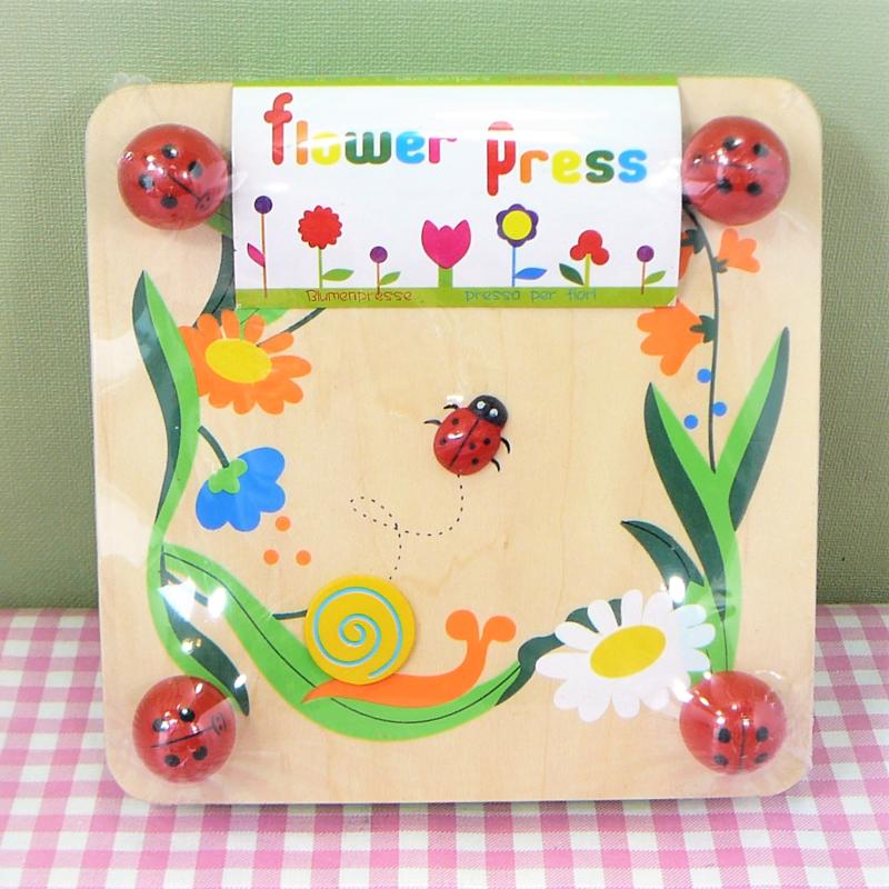 Houten speelgoed bloemenpers - Lieveheersbeestje