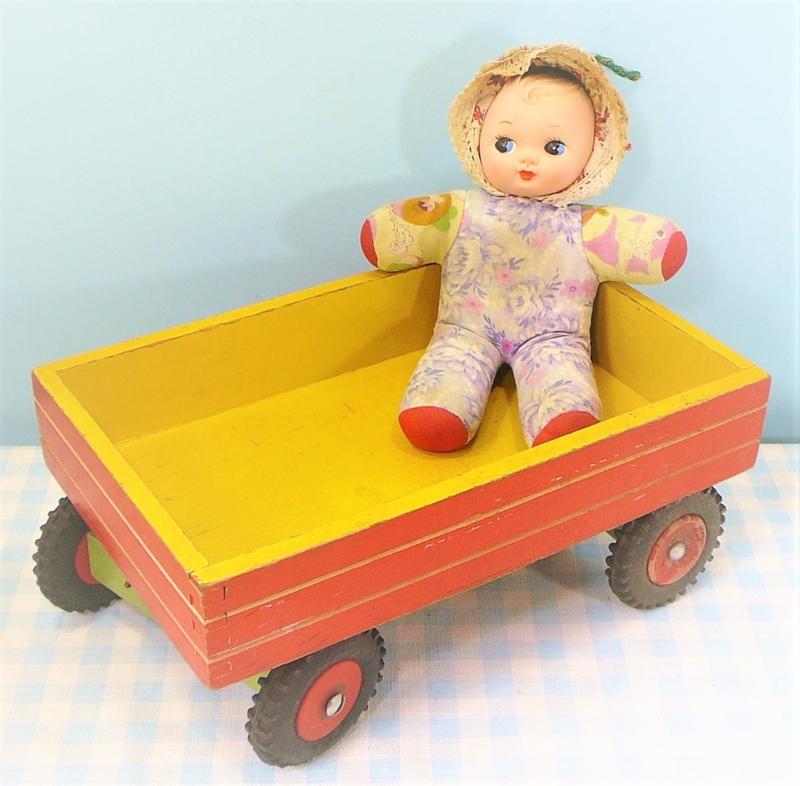 Houten speelgoed vintage kiepwagen - jaren 50/60