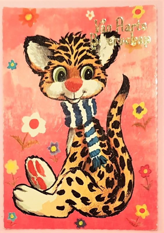 Vintage ansichtkaart Van Harte Beterschap - Luipaard