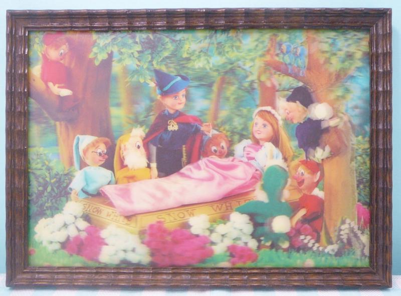 Vintage Sneeuwwitje sprookjes 3-D prent - Jaren 60