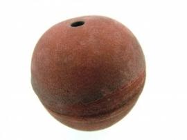 Lederen kraal 34 mm rood