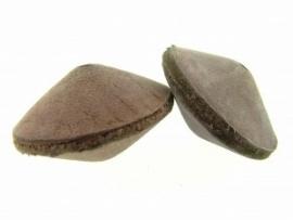 Lederen kraal 21/34  mm aubergine