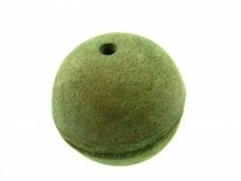 Lederen kraal 34 mm olijf groen